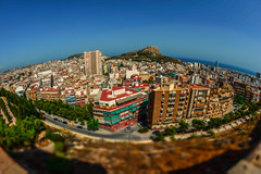 City in the sun...... (Dafydd Penguin) Tags: city sun fisheye fanatics urban centre town view point panorama alicante southern spain valencia tilt shift castle hill curve curvature nikon df nikkor 16mm af f28