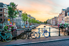 Amsterdam city walk! (ShanePix) Tags: reflection women netherland amsterdam houseboat night water waterfront outdoor skyline city architecture building landscape river holland canal holidays travel panorama cityscape sunset canals bike bicycle flowers magichour