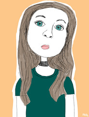 Girl wearing choker (faceseveryday) Tags: fed148 choker greeneyes cartoon art illustration drawing portrait photoshop caucasian sketch scribble female girl woman redditgetsdrawnbadly