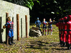 Viper at the stake (PeterDB.net) Tags: photo toy toys vintage actionfigure hasbro gijoe arealamericanhero internationalheroes arah 334 cobra tomax xamot crimsonguard siegie viper cobraofficer mercer renegade firingsquad execution outdoor wall stake post