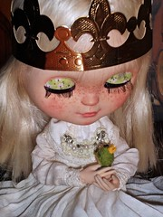 Blythe custom princess, frog, kiss, prince