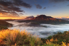 Pinggan (adyLee.photography) Tags: red yellow sunrise beautiful bali indonesia mountain trekking fog mist clouds light valley golden sky blue nature tree sun landscape photography orange holiday travel village