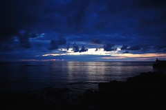 11pm (remcclean) Tags: whitehills north east scotland coast harbour moray firth sunset 11pm 11july sea ocean outdoor evening night clouds sky water blue colours