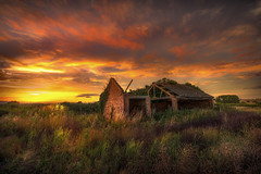 Barn Free (unciepaul) Tags: barn free sunset saturday july leicestershire field sky coppercloudsilvernsun clouds shadows glow moody scene twoimagesmerged lightroomhdr composition reclamation old building nikond800 nikon1224mm tripod soft sunshine blueskyclouds beautiful colours detail hdr