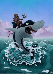 Shark Attack (MightyZandor) Tags: illustration cartoon comic webcomic fantasy sword sorcery rabbit shark sea adventure
