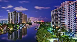 View of skyline of Aventura, Miami-Dade County, Florida, USA
