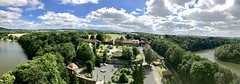 Panorama taken from the window at Choch Castle tower (jacek.klimkowicz) Tags: castle courtyard nature landscape czoch poland tower river architecture tree tourism panoramic sucha