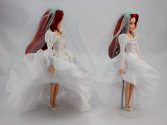 Once Upon a Wedding Ariel (2011) vs Classic Wedding Ariel (2017) - Raising Skirts - Full Left Side View (drj1828) Tags: disneystore disneyclassicdollcollection ariel wedding 2017 disneyprincessclassicdollcollection 1112inch princess disney deboxed standing onceuponawedding 2011 groupphoto comparison sidebyside