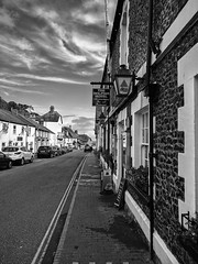 Pint (ancientlives) Tags: beer devon england uk europe pub pint hotel architecture building walking streetphotography southwest blackandwhite bw mono monochrome clouds bluesky summer 2017 july wednesday