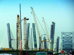 New Bridge Construction Site (dimaruss34) Tags: newyork brooklyn dmitriyfomenko image sky newjersey bridge construction crane cranes