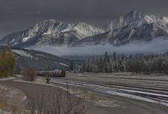 Long white cloud in Jasper (PhotoArt Images) Tags: jasper canada photoartimages jasperrailwaystation autumninjasper fall autumn mountains snowcappedmountains alberta