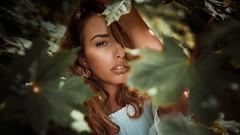 Petra a syrian beauty (ikopix) Tags: port portrait woman model beauty posing lips eye leafs hazeleyes syrian