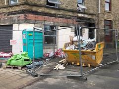 Blocked 008 (Peter.Bartlett) Tags: huddersfield skip fence rubbish corner windows doorway iphone7 mobilephone cellphone snapseed