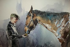 ''Take an apple'' ©Cristina Grinciuc,  Watercolours. (cristina grinciuc) Tags: horse horses animal head art visualart painting portrait human pet people watercolor watercolour cristinagrinciuc equine