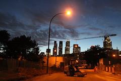 Urban (Jenny Hail) Tags: montreal skyscrapers construction warehouse street work build building light twilight gloaming sky night
