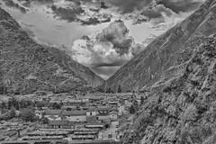 DSC_1018t Town below Macchu Pichu Peru (camera30f) Tags: macchu pichu mountains citadel latin america peru day daylight clouds white blue skiies sunny weather green vegetation scenery