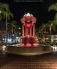 Broadway Fountain (20170727-DSC03373-Edit) (Michael.Lee.Pics.NYC) Tags: sandiego broadwayfountain irvinggill hortonplazapark night longexposure architecture cityscape palmtree sony a6500 voigtlanderheliar10mmf56 lighttrail traffictrail