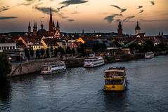 The River Main,  Wurzburg, Germany (Blackburn lad1) Tags: germany wurzburg river boat townscape sunset bavaria landscape xt20 fujifilm