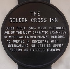 [52587] Coventry : Golden Cross Inn (Budby) Tags: coventry westmidlands timbered plaque information history heritage pub publichouse