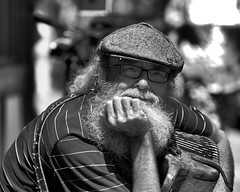 Donnie (wespfoto) Tags: stjohns newfoundland busker music street performer accordion bw blackwhite july summer 2017