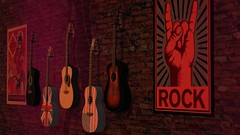 To those who are about to strum (alexandriabrangwin) Tags: alexandriabrangwin secondlife 3d cgi computer graphics virtual world photography trans dimension feature wall guitars acoustic flags countries america england rock poster dim light afternoon hanging brick