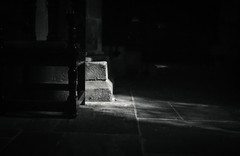 Light Falls (Anna Chalk) Tags: hexham abbey light blackandwhite shadow indoors old trip northumberland