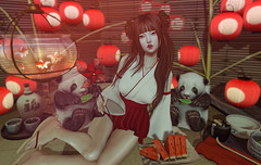 Touch of Red (Gabriella Marshdevil ~ BUSY IRL) Tags: sl secondlife cute kawaii asian lcky altair blackbantam panda japanese japonica