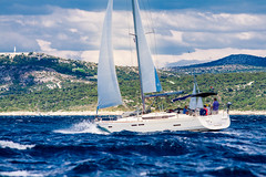 The Yacht in Adriatic Sea (Wolfhowl) Tags: wind fenders sailing boats yacht bbyachting clouds adriatic croatia fender yachting travel sails sea blue sky seascape genoa europe speed waves