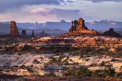 Last Rocks Standing (Bill Bowman) Tags: standingrocks mazedistrict maze canyonlandsnationalpark sunset cedarmesasandstone whiterimssandstone islandinthesky candlesticktower publiclandforpublicuse organrockshale