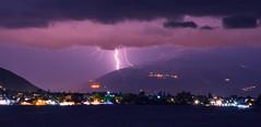 Electric Night (free3yourmind) Tags: electric night strike lightning clouds cloudy sea town lights mountain aigio egio greece peloponnese