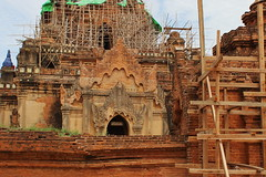 Repairs underway (I.M.W.) Tags: myanmar pagoda paya burma birmanie bagan stupa earthquake 24thaugust2016 damage collapse building brick repair pile arch rubble scaffold