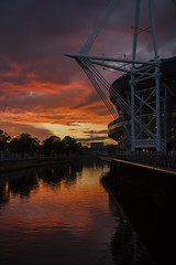 Colours and reflections: sunset over the River Taff, Cardiff, Wales (Dai Lygad) Tags: sunset weather stormy cardiff rivertaff water principalitystadium reflections striking sky orange photos photography photographs images pictures attributionlicence jeremysegrott canon camera 550d eos sigmalens outside outdoors evening july 2017 beautiful trees flickr freetouse orwebsite forwebpage forblog forpresentation forpowerpoint clouds geotagged caerdydd cityscape urban colours colors