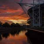 Colours and reflections: sunset over the River Taff, Cardiff, Wales thumbnail
