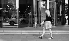 Pleats (burnt dirt) Tags: houston texas downtown city town street sidewalk crosswalk girl woman man people person couple group crowd asian latina cute sexy laugh smile jeans dress shorts skirt yogapants tights leggings stockings friend longhair shorthair ponytail heels stilettos boots shadow blonde brunette reflection athlete construction traffic lunch office building worker streetphotography documentary portrait fujifilm xt1 bw blackandwhite bike bicycle model young tattoo metro bus busstop train trainstop glasses sunglasses