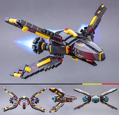 LanderX (Milan Sekiz) Tags: lego blacktron black red trans yellow space spaceship wings