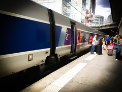 Platform One (LUMEN SCRIPT) Tags: travel tourism transport train railways paris france tgv fasttrain lines perspective vanishingpoint street colours vivid colour color