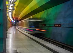 Walking in a rainbow (katrin glaesmann) Tags: münchen munich tube station ubahn metro mvg candidplatz workshop u1 movingtrain 1997 architekturbüroegonkonrad sabinekoschier passenger people walking vanishing