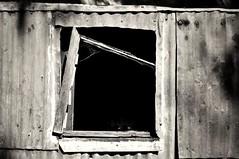 UnFramed, HWW (holly hop) Tags: starnaud centralvictoria decay corrugatediron bw derelict abandoned rustyandcrusty worn weathered empty hww brokenwindow windowwednesdays