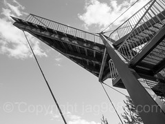 Il Spir Observation Tower, Flims-Conn, Grisons, Switzerland (jag9889) Tags: 2017 20170716 aerialview anteriorrhine architecture bw blackandwhite building ch cantonofgraubunden europe flem flims gr gorge grandcanyonderschweiz graubunden grisons helvetia house imboden kantongraubünden monochrome observationtower outdoor outlook platform reinanteriur rheinschlucht rhinegorge rock ruinaulta schweiz structure suisse suiza suizra svizzera swiss swissgrandcanyon switzerland tower vorderrhein jag9889 panoramic viewing