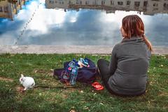 Walk a rabbit (allejandrine) Tags: rabbit girl walk street streetphotography people