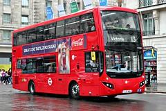 Tower Transit Ltd . MV38219 LJ17WSL . Park Lane , Marble Arch , London . Saturday 22nd-July-2017 . (AndrewHA's) Tags: bus marblearch parklane london tower transit rain volvo b5lh hybrid mcv evoseti mv 38219 lj17wsl tfl route 13 victoria