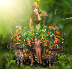 The Jungle Goddess (meriluu17) Tags: boudoir jungle forest foxcity astralia tiger girrafe elephant animal wild wilds animals pet floera fauna leaves bird parrot green natural goddess princess fantasy surreal sexy people outdoor portrait woman