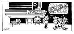 The Barnacle Twin - Comic Strip 0078 (Brechtbug) Tags: the barnacle twin presents a brecht newspaper cartoon without paper comic comics theater theaters theatre movie film movies films new york city brechtbug gadfly nyc 2017 comix cartoons cinema halloween holiday funnies news urban pen ink mise en scene july block buster brown dog pal siege bully neighborhood bullies