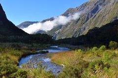 Downstream to Milford Sound / New Zealand (rosch2012) Tags: milfordsound bach creek river cloud wolke berge mountain ruhig quiet calm day daylight tag tageslicht sonnig sunny newzealand neuseeland