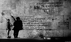 Tomb of the Unknown Soldier I Athens (Georgina ♡) Tags: monochrome blackandwhite tomboftheunknownsoldier athens greece guard rifle greeksoldier guardduty nightshot shadow