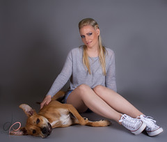 IMG_4536 (Deviant_Fox) Tags: woman lady girl blond blonde skinny slim sporty sport jeans dress heels higheels converse laying resting sit sitting floor background wallpaper grey blue pink cat dog puppy kitten animal animals hair makeup