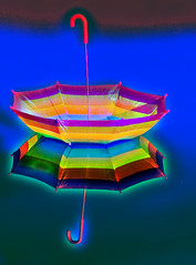 Rainbow Brolly (Pete Hendy LRPS) Tags: reflection abstract rainbow colours umbrella