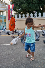 Little girl feeding birds (pigeon) in front of Royal Palace, Phnom Penh, Cambodia (Alex_Saurel) Tags: detail asia architecture orientation edifice photoreport lifescene religion castle day reportage clothes scènedevie travel chatêau people photospecs action children palace imagetype place vertical fullframe culumn palai cambodge monk kesa archicategory photojournalism streetscene avenue scans stockcategories pleinformat type moine photoreportage time urbanisme sony50mmf14sal50f14