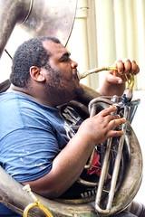 Man inside a tuba brassing tunes (Marco A Rodriguez) Tags: instrument instrumento jazz tuba sousaphone music musica orleans musician brass viento wind street artist louisiana