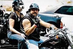 The Biker (Shot by Newman) Tags: people bikers bike harley helmets ink laughlinriverrun nevada shotbynewman 35mm fujifilm fuji400 daylight bikeweek 35mmminolta
